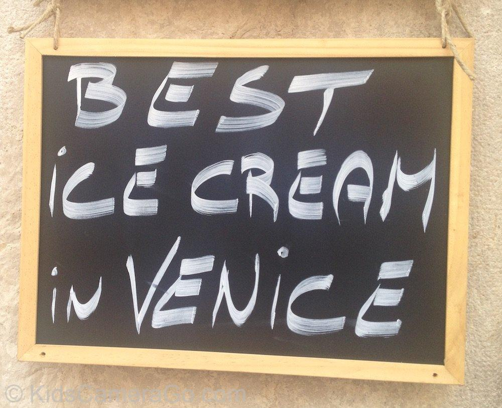 Sign for the best ice cream in venice