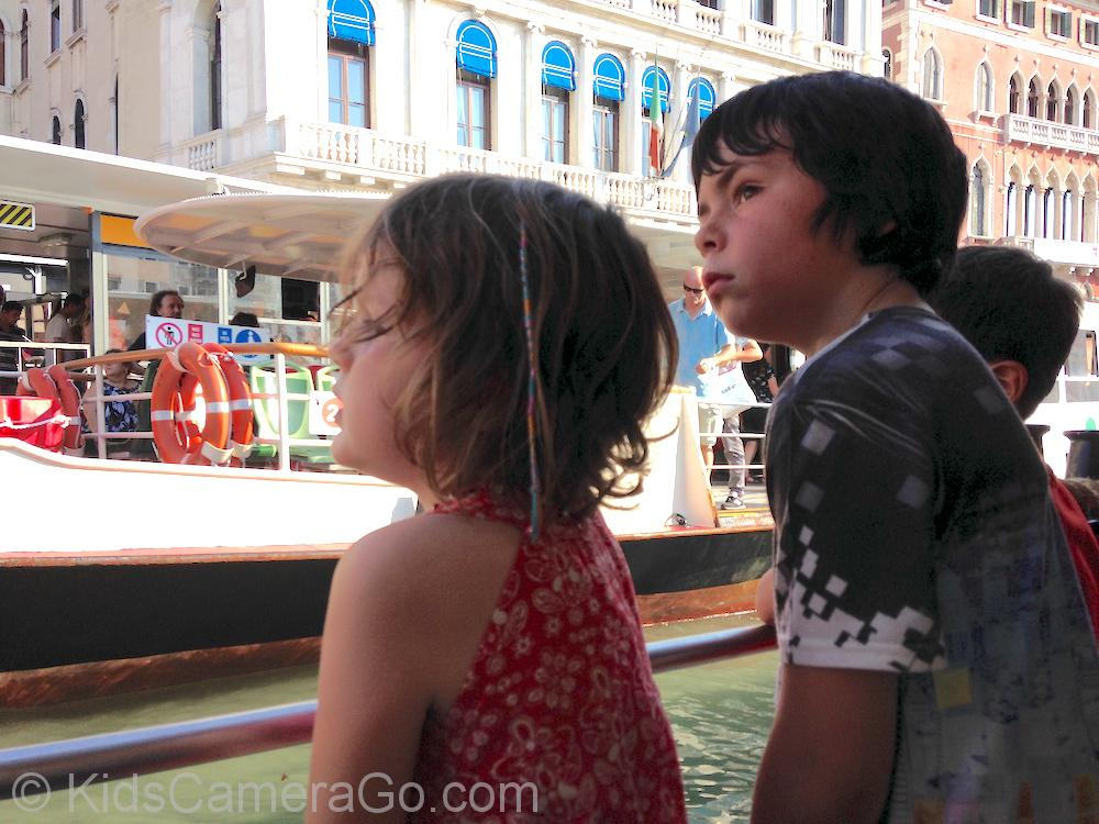 Kids on Waterbus on the Grand Canal in Venice